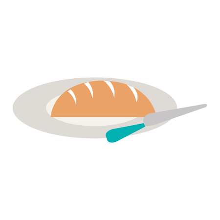 delicious bread in dish with knife vector illustration design