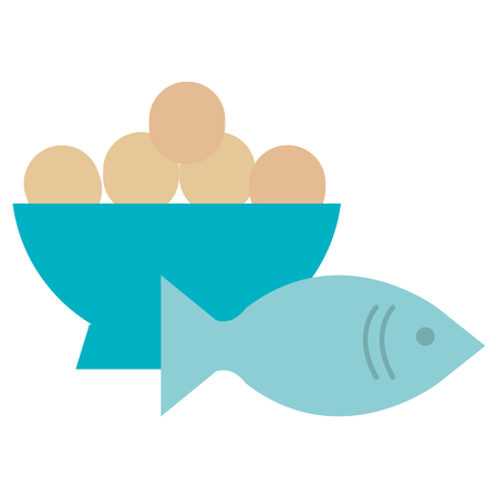 fresh salmon fish with eggs bowl vector illustration design