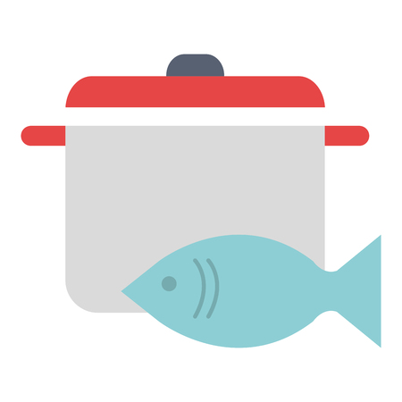fresh salmon fish with pot vector illustration design Illustration
