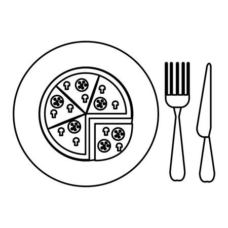 delicious italian pizza in dish with cutleries vector illustration design Ilustração