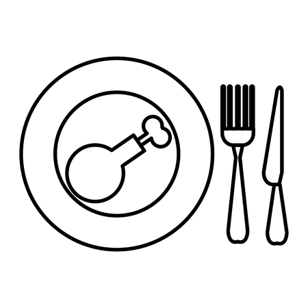 delicious chicken thighs in dish with cutleries vector illustration design Çizim