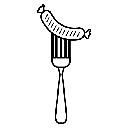 delicious sausage in fork vector illustration design Ilustrace