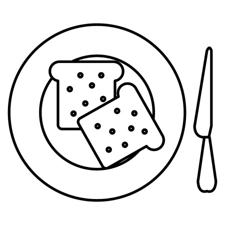 bread toast in dish with knife vector illustration design Standard-Bild - 111735712
