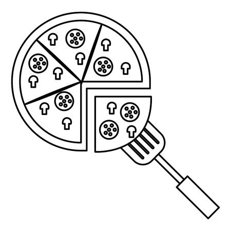 delicious italian pizza with spatula vector illustration design Imagens - 106897792