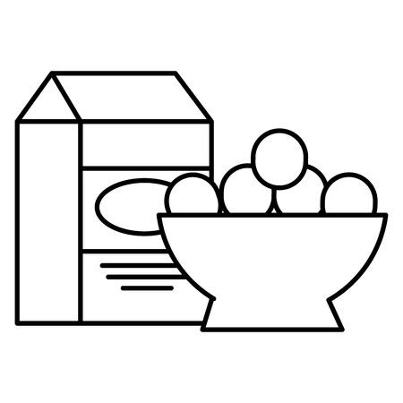 eggs bowl with milk box vector illustration design