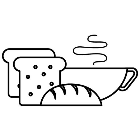 bread toast with coffee cup vector illustration design Standard-Bild - 111735727