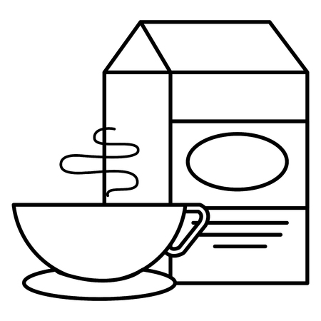 milk box with coffee cup vector illustration design Illustration
