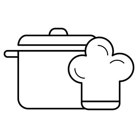 kitchen pot with hat chef vector illustration design Illustration