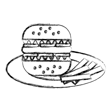 delicious burger in dish with french fries vector illustration design