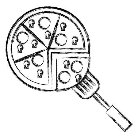 delicious italian pizza with spatula vector illustration design Illustration