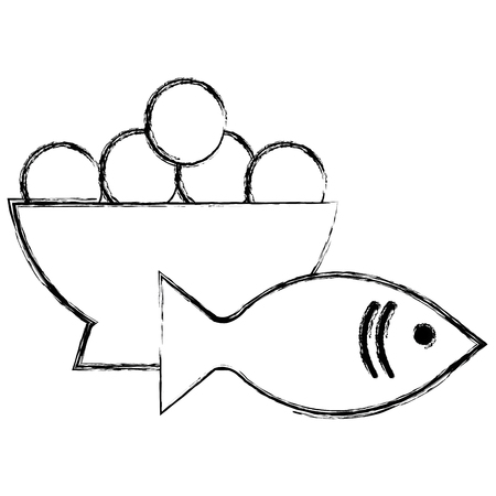 fresh salmon fish with eggs bowl vector illustration design