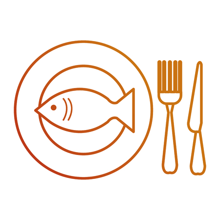fresh fish in dish with cutleries vector illustration design 向量圖像