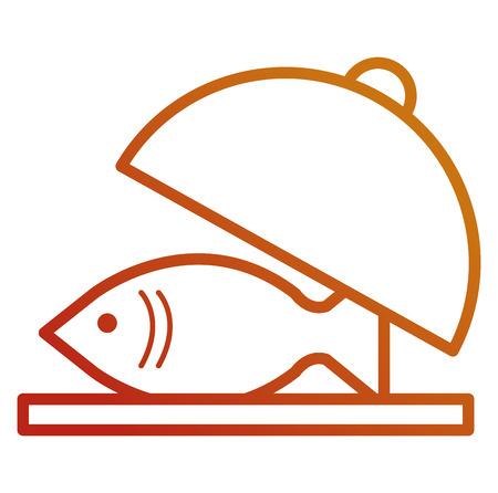 fresh salmon fish in tray vector illustration design