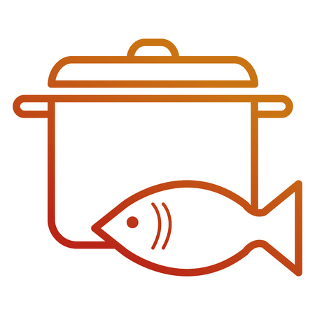 fresh salmon fish with pot vector illustration design Reklamní fotografie - 111735764