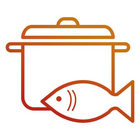 fresh salmon fish with pot vector illustration design Illustration