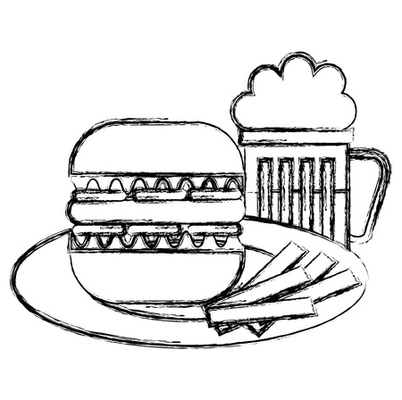 delicious burger with beer and french fries vector illustration design Illustration