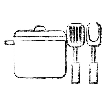 kitchen pot with fork and spatula vector illustration design