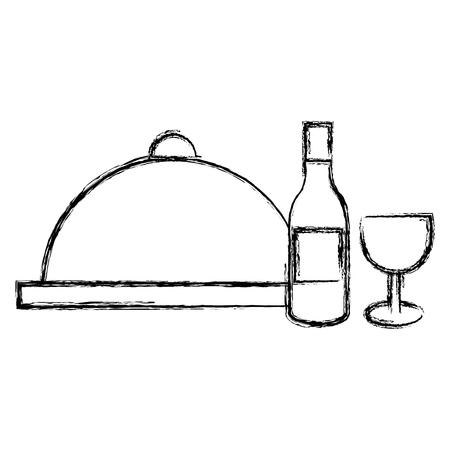 restaurant tray server with wine vector illustration design