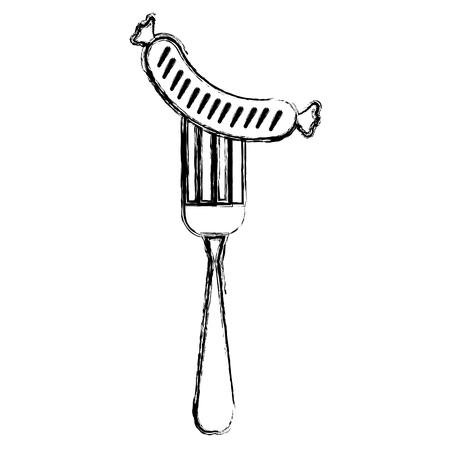 delicious sausage in fork vector illustration design  イラスト・ベクター素材