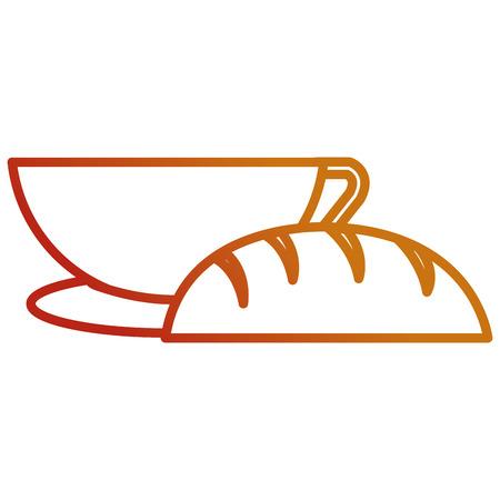 delicious bread with coffee cup vector illustration design