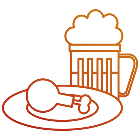 delicious chicken thighs in dish with beer vector illustration design