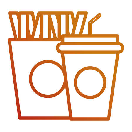 delicious french fries and soda vector illustration design