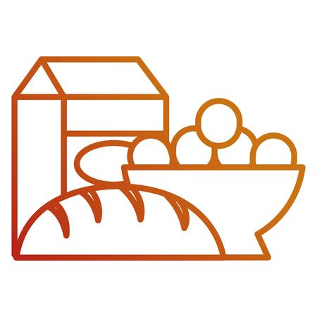 delicious bread with milk box and eggs vector illustration design
