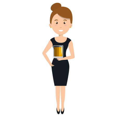 woman with whiskey glass drink vector illustration design 向量圖像