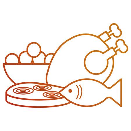 delicious chicken meat with fish and ham vector illustration design Archivio Fotografico - 111735829