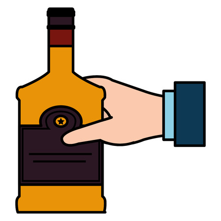 hand with whiskey bottle drink vector illustration design 版權商用圖片 - 106902447