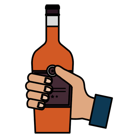 hand with whiskey bottle drink vector illustration design 版權商用圖片 - 106902451