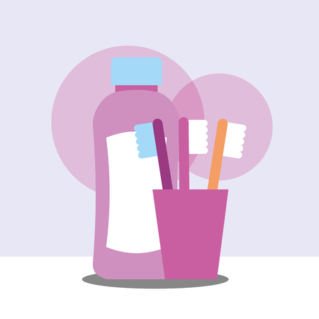 toothbrushes and bottle plastic shampoo bathroom vector illustration Ilustrace