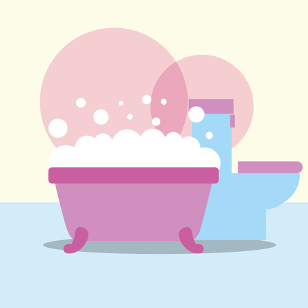 bathtub and toilet bubbles foam bathroom vector illustration