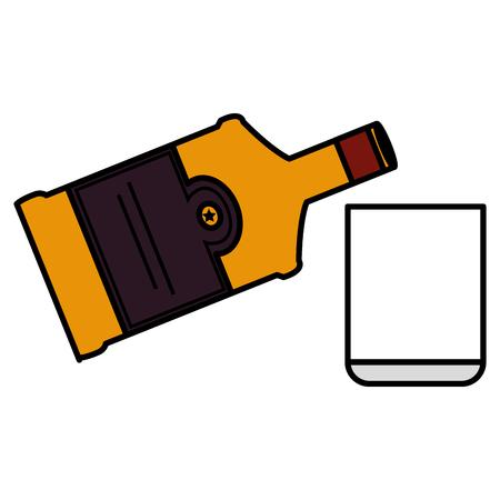 bouteille de whisky avec conception d'illustration vectorielle en verre Vecteurs