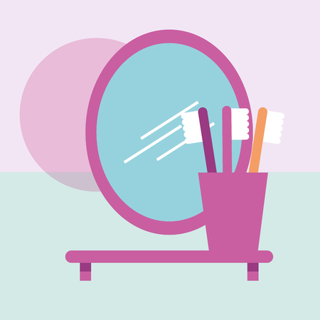 toothbrushes in shelf and oval mirror bathroom vector illustration Banco de Imagens - 111735845
