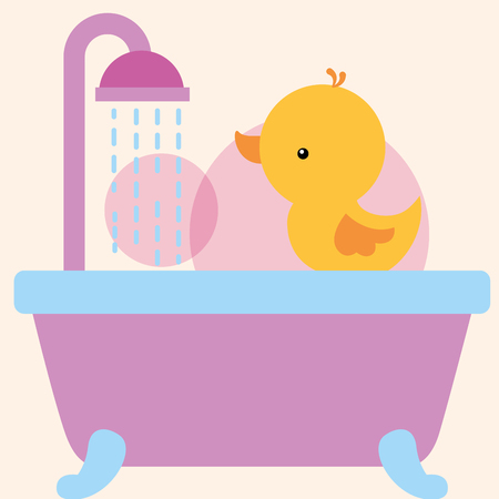 rubber duck toy on bathtub shower water bathroom vector illustration