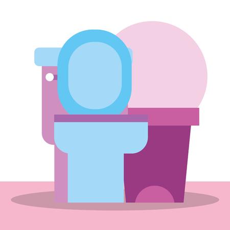 toilet and trash bin cartoon bathroom vector illustration Archivio Fotografico - 111735849
