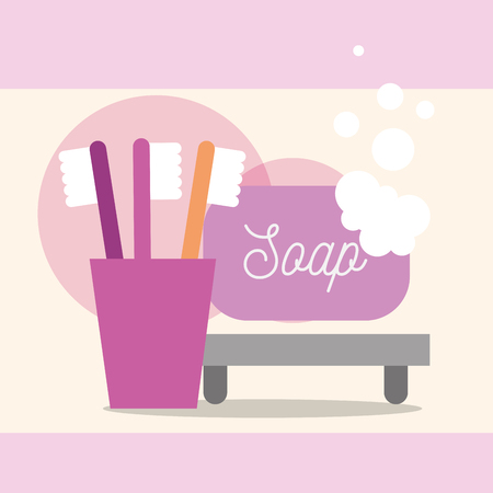 toothbrushes and soap bubbles cartoon bathroom vector illustration