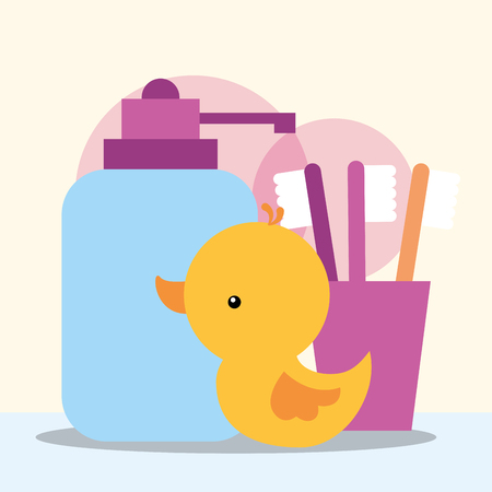 rubber duck toy dispenser liquid soap and toothbrushes bathroom vector illustration
