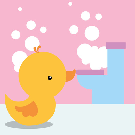 rubber duck toy and toilet bubbles bathroom vector illustration