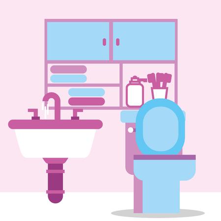 toilet bowl sink furniture toothbrushes towels bathroom vector illustration Ilustração