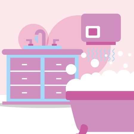 bathtub furniture washbasin hand dryer bubbles bathroom vector illustration Illustration