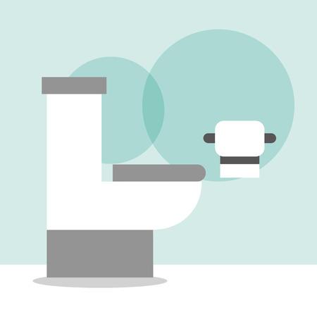 white toilet bowl and paper cartoon bathroom vector illustration