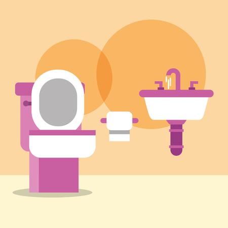 cuvette de toilette lavabo et papier dessin animé salle de bain vector illustration