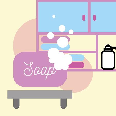 soap foam furniture dispenser liquid towels bathroom vector illustration