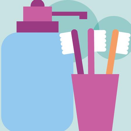 Zahnbürstenspender Flüssigseife Badezimmer Vektor-Illustration Vektorgrafik