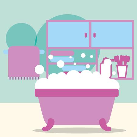bathtub foam furniture toothbrushes and towel bathroom vector illustration