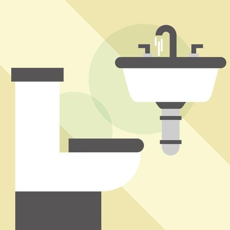 white toilet bowl washbasin clean bathroom vector illustration Ilustração