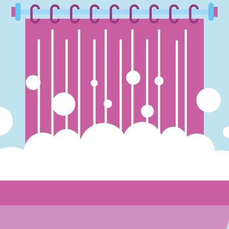 bathtub foam bubbles and curtain bathroom vector illustration Çizim