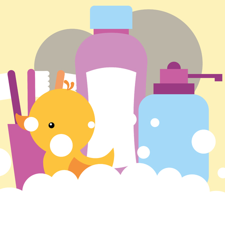 rubber duck toy dispenser liquid soap shampoo toothbrushes bathroom vector illustration